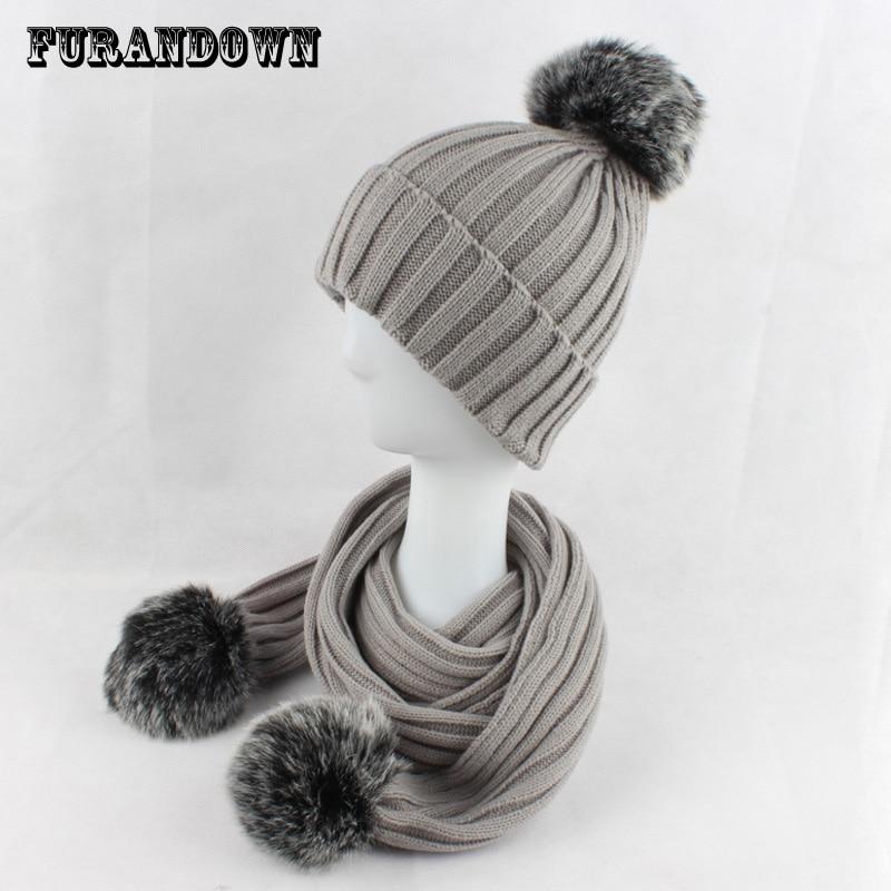 2017 winter warm women faux fur hat scarf set two fur pompom scarf set knitted beanie Hats