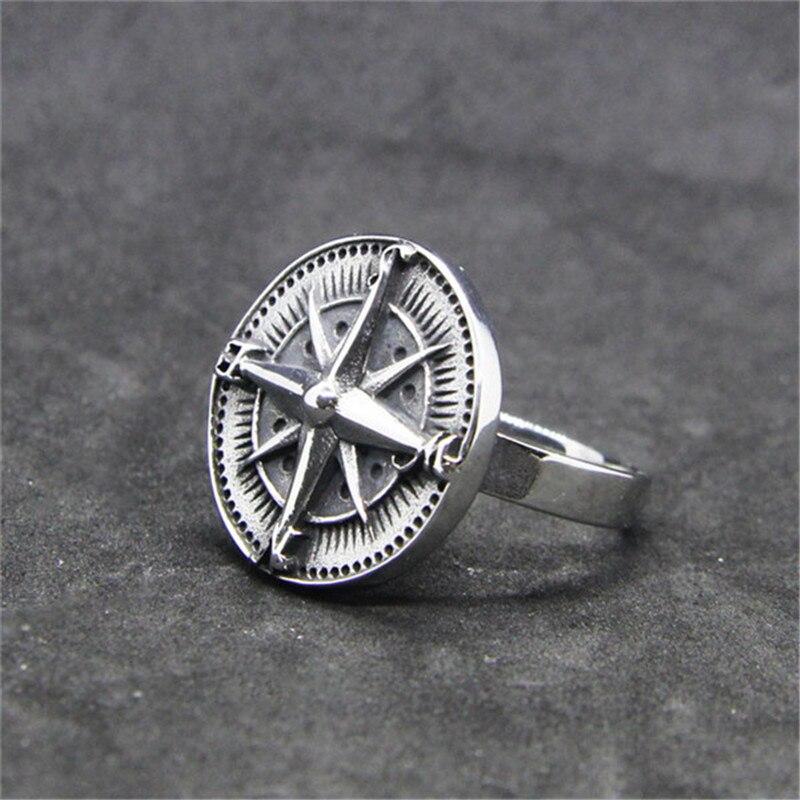 Rany & roy anel bússola fria, mais novo anel em aço inoxidável 316l, joias fashion, motociclista, estilo bússola