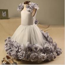 Image réelle nouvelles filles robe danniversaire enfants Pageant robes à la main fleur Tulle fleur fille robe première Communion robe toute taille
