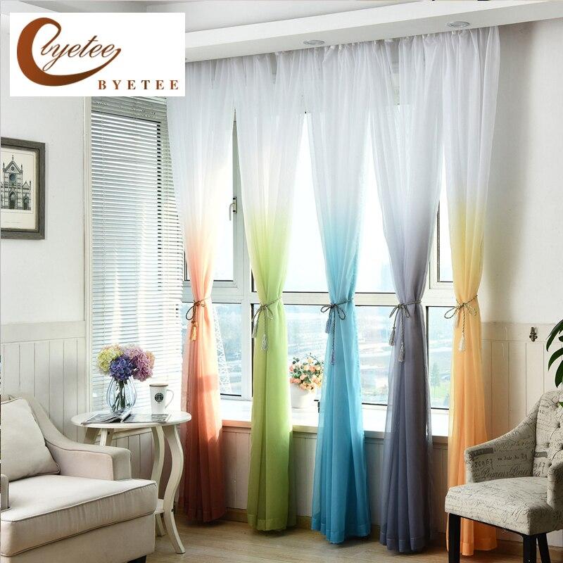 [Byetee] Organza ventana cortina telas ventana sala de estar tul cocina pura gasa moderna cortinas velos para cortinas de hilo
