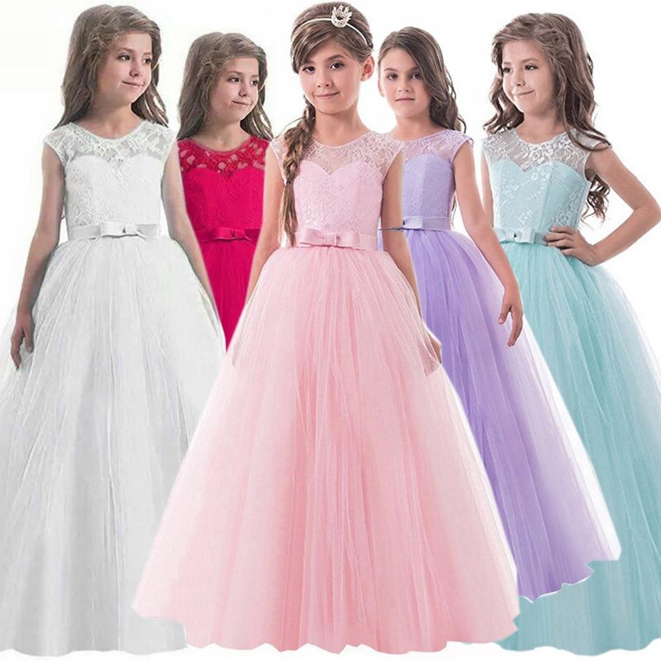 VOGUEON Girls Dress Summer Children's Clothing Party Elegant Princess Long Tulle Baby Girls Kids Lace Wedding Ceremony Dresses