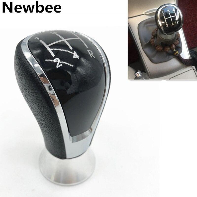 Newbee, perilla de palanca de cambios Manual de cuero para coche de 5 velocidades, cabeza de pluma para Toyota Corolla 2004 2005 2006 2007 2008 2009-2013