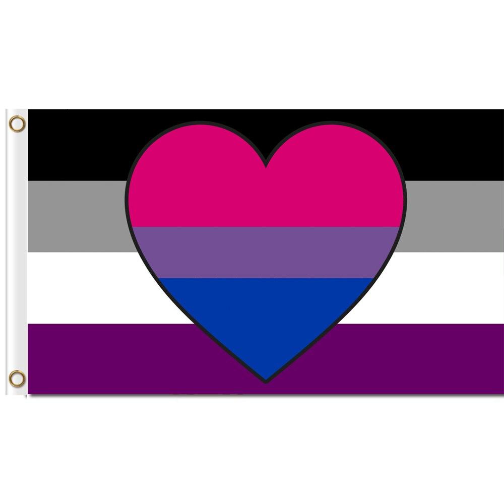Asexual Biromantic bandera 3x5 ft de poliéster impreso gran Gay Orgullo LGBT bandera