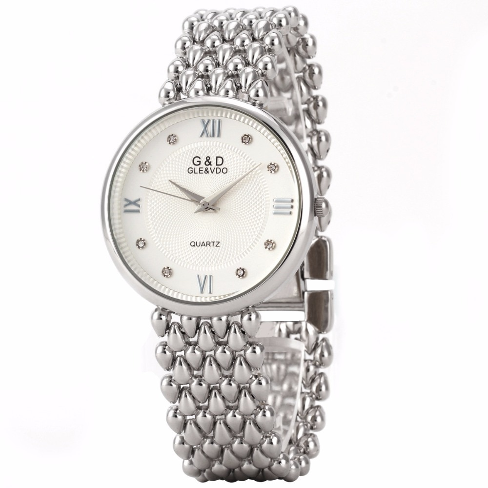 G&D Top Brand Luxury Silver Womens Wristwatches Fashion Quartz Watches Ladies Bracelet Watches Relogio Feminino Gift Reloj Mujer enlarge