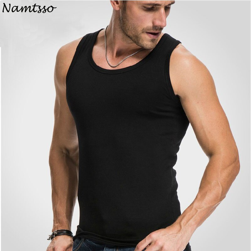 Camiseta sin mangas para hombre, ajustada, elástica, informal, con cuello redondo, transpirable, tipo H, totalmente de algodón, color sólido