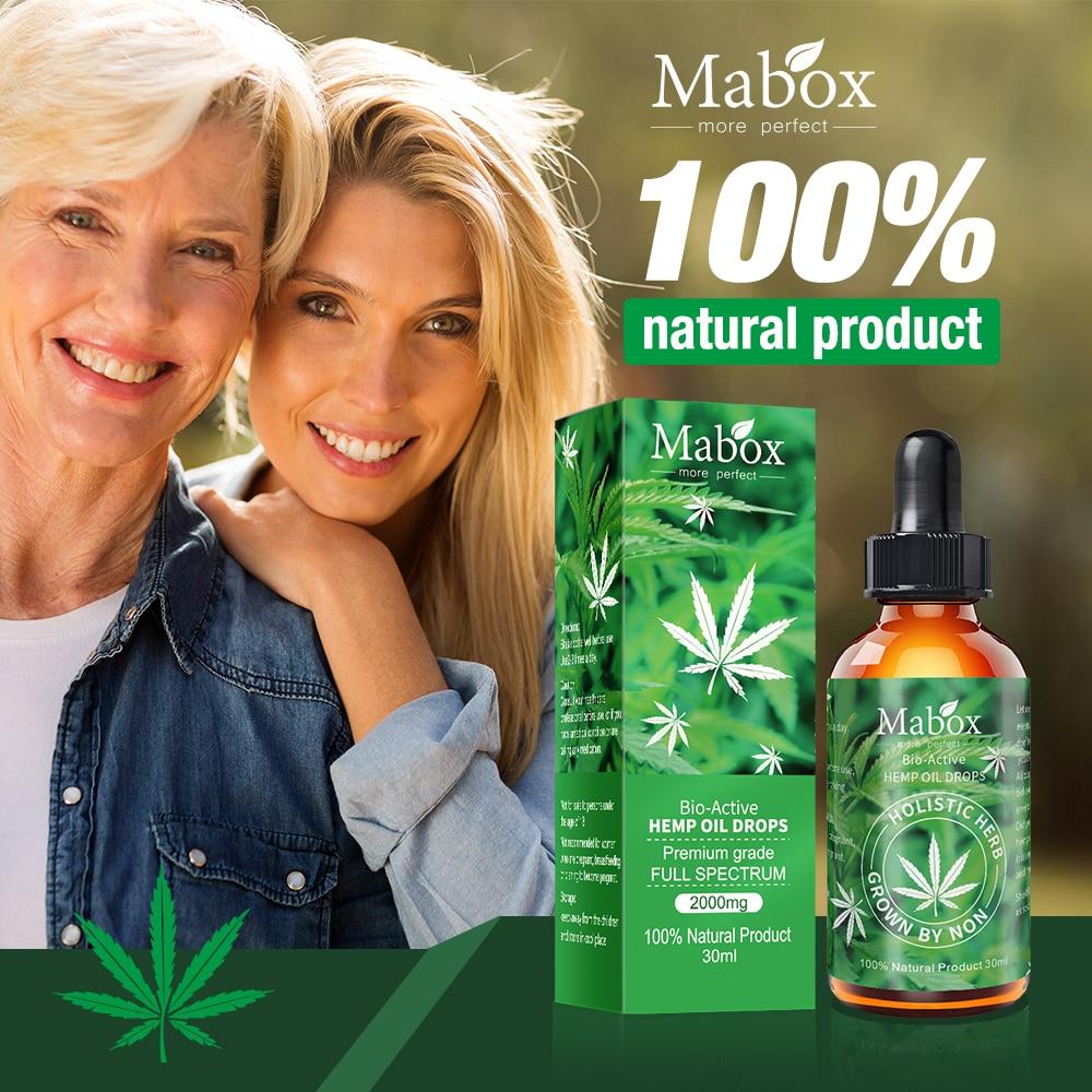 Aceite de cáñamo MABOX, 100% Natural, ayuda al sueño, antiestrés, gotas de extracto de cáñamo para el dolor, ansiedad y alivio del estrés, 2000mg contiene cbd
