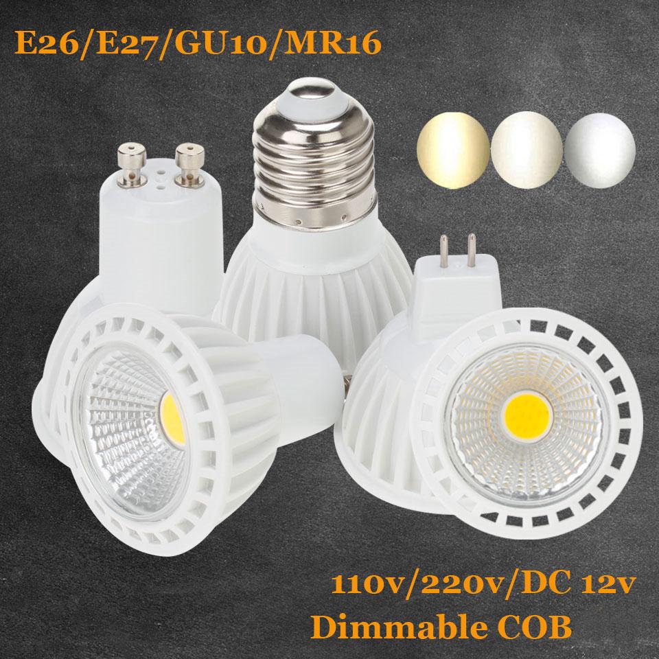 Pode ser escurecido GU10 CONDUZIU a Luz do Ponto de Alumínio AC 220 V 110 V MR16 DC 12 V E26 E27 Lâmpada LED DIODO EMISSOR de Luz 5 W 7 W 9 W COB LEVOU Holofotes interior