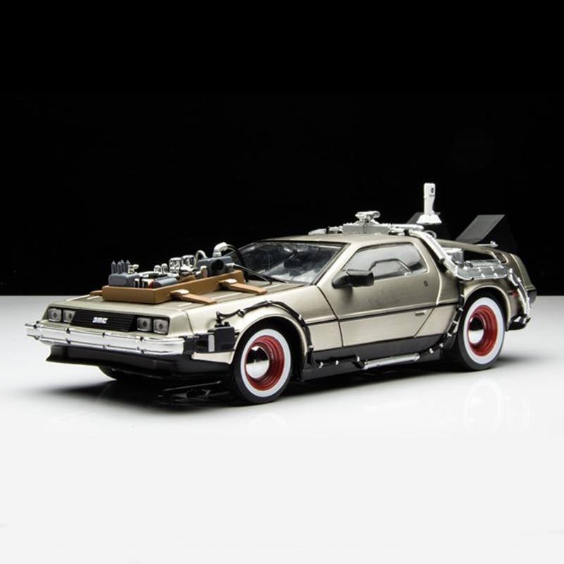 Welly Back To The Future Car 124 Diecast Car Part 1 2 3 Time Machine DeLorean DMC-12 Model Cheap Kid Children Car Model Toys