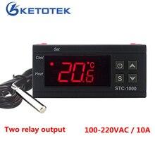 STC 1000 Digitale Temperatur Controller Zwei Relais Ausgang LED Thermostat Inkubator 110V 220V 10A mit Heizung und Kühler