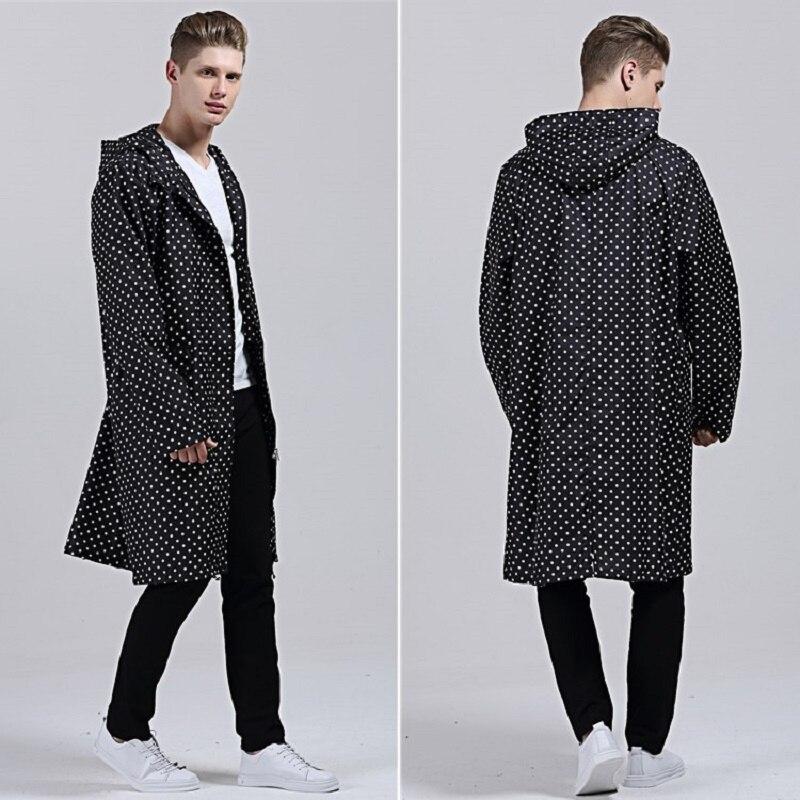 Новое поступление, большой размер XXL, мужское легкое пончо, черная Водонепроницаемая длинная куртка в горошек, дождевик для взрослых, верхня...