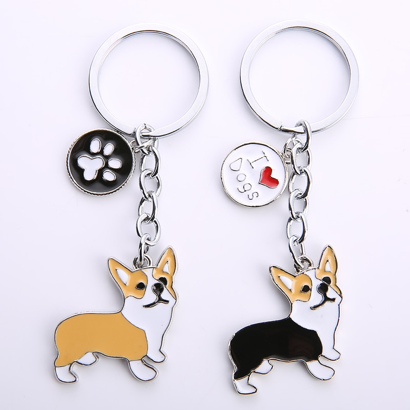 NEW Cute Welsh Corgi Dog Key Chain For Women Handbag Pendant Keychain Key Ring Man Car Key Holder Ch