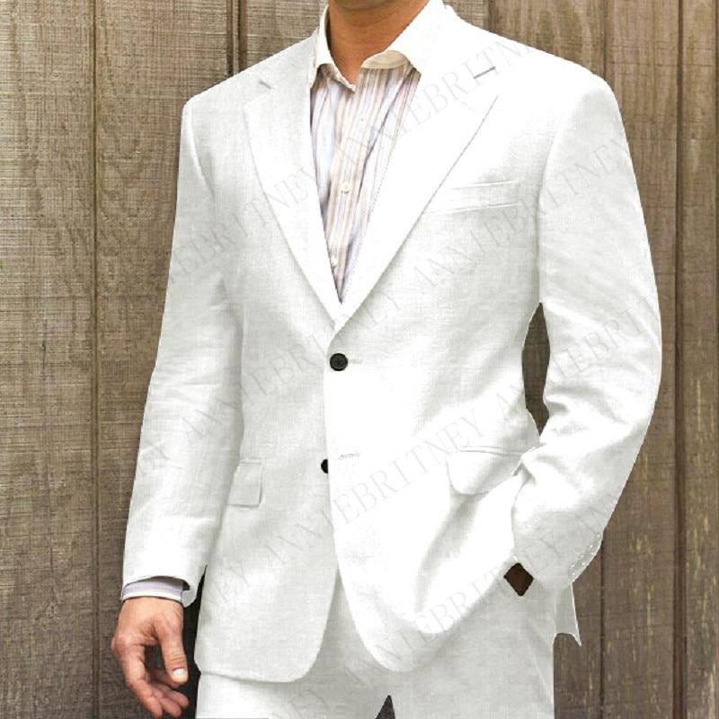 Anniebreney-طقم بدلة زفاف من الكتان الأبيض للرجال ، بدلة سهرة غير رسمية ، بدلة ضيقة ، زفاف ، زفاف ، زفاف ، صيف 2019