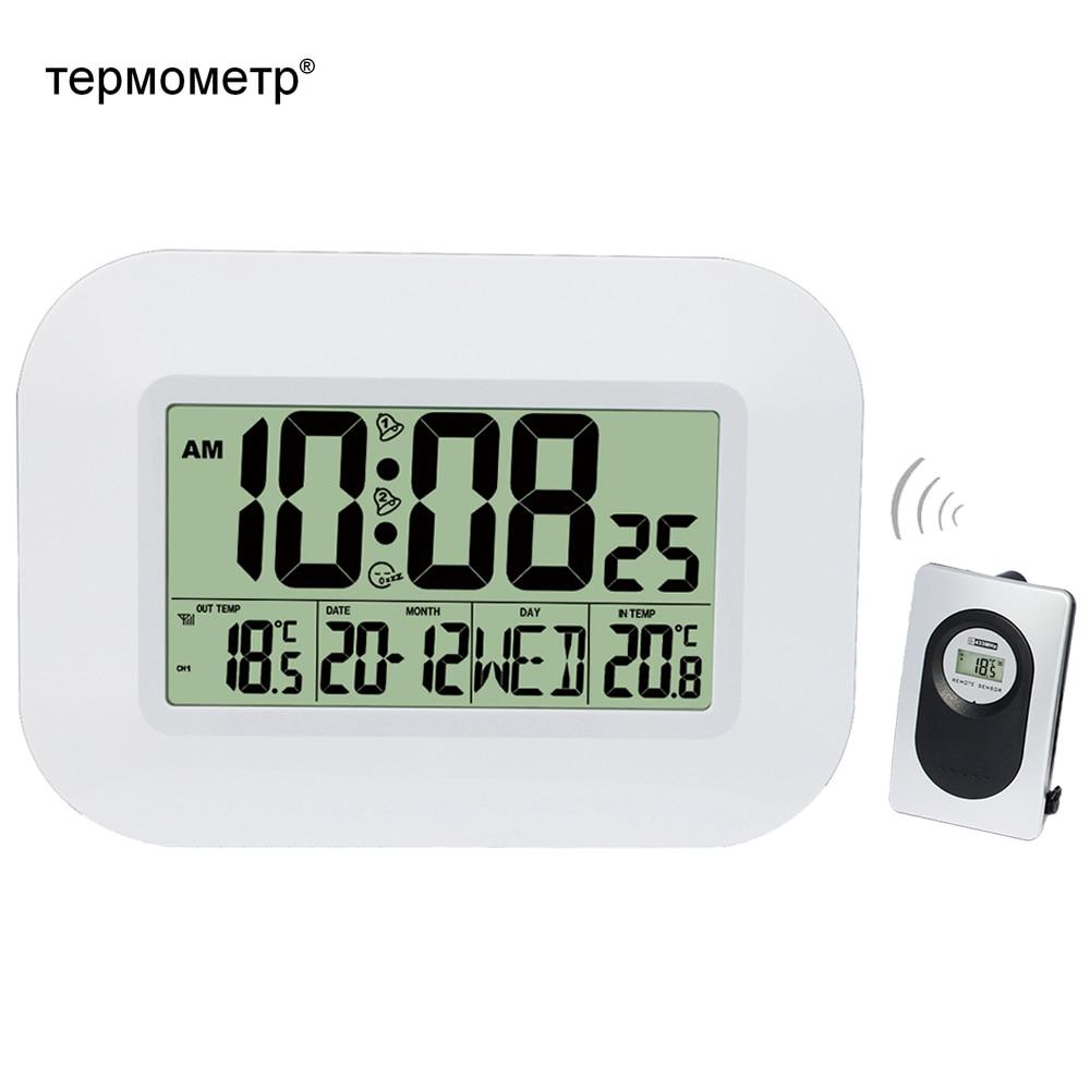 Большой ЖК-дисплей цифровые настенные часы с термометром температурный Радиоуправляемый будильник RCC Настольный календарь для дома школы ...
