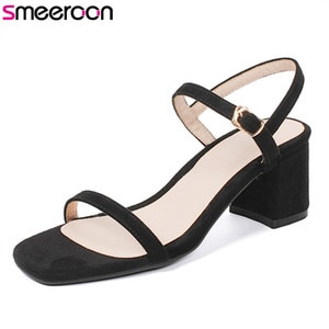 Smeeroon 2020 hot women sandals simple fashion buckle ladies shoes solid color summer shoes elegant dress shoes high heels shoes