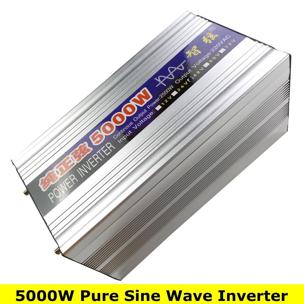 Potencia máxima 5000 W onda sinusoidal pura fuera de la rejilla inversor DC12V/24 V a AC220V 50 HZ/60 convertidor de HZ inversor de energía Solar con pantalla Dual