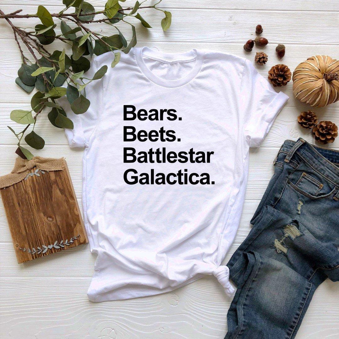 Camiseta de Bears Beets Battlestar, camiseta Galactica, camiseta de la oficina del programa de Tv