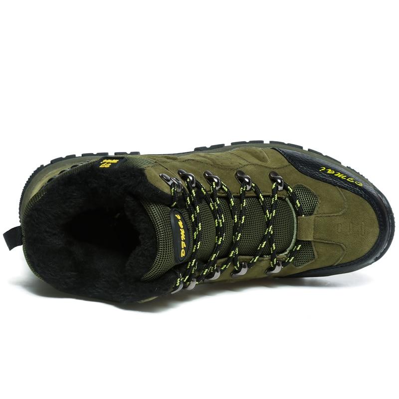 Купить с кэшбэком 2019 Super Warm Men Winter Boots Quality Suede Snow Boots Fur Plush Snow Shoes For Men Lace Up Outdoor Shoes Plus Size 36-48