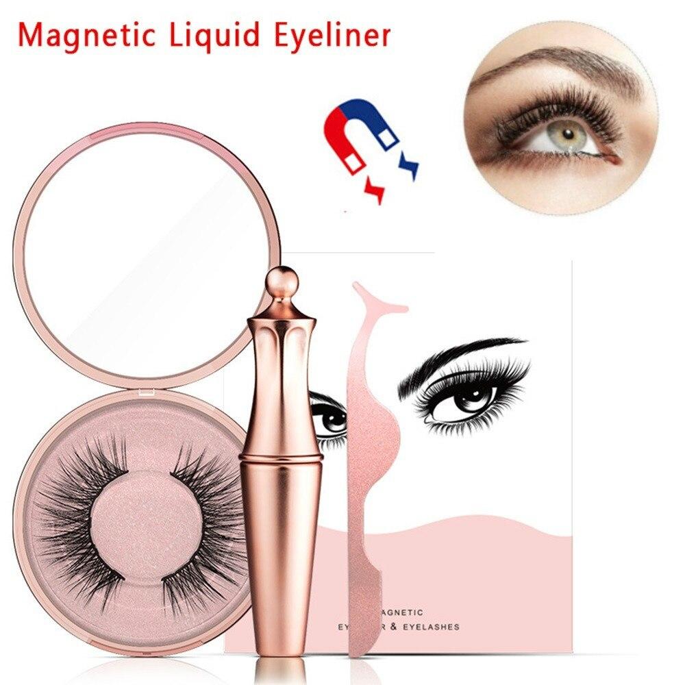 2019 New Dropshipper 4ML Black Liquid Magnetic Eyeliner 3D Mink False Eyelashes Tweezers Waterproof Quick Dry Easy To Wear TSLM1