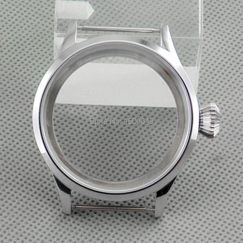 Vidro de Safira Caixa de Aço Caixa do Relógio Totalmente Polido Inoxidável Sea Gull St3621 St3600 Eta 6497 Movimento 6498 43mm Fit