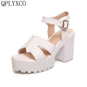 Женские босоножки QPLYXCO, большие размеры 34-46, винтажные летние туфли с ремешком на щиколотке, сандалии на платформе и толстом высоком каблуке,...