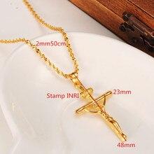 18 K or jaune GF timbre INRI jésus croix pendentif collier fidèles femmes charmes croix bijoux christianisme Crucifix cadeaux