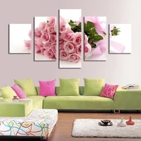 5 piece pink roses picture painting modern home wall decor for living room print painting on canvas art picture for home