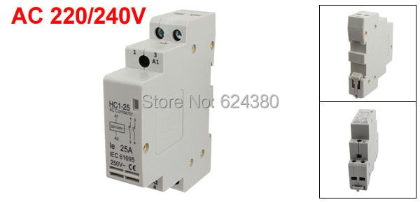 HC1-25AC 220 V/240 V Universal Casa Hogar AC Contactor Modular módulo 25A 25 amperios 2 P 2 los polos de montaje en carril DIN de 35mm HC1-25
