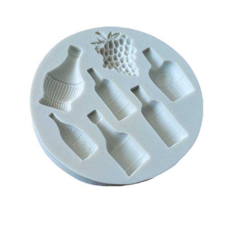 Herramientas de pastel botella de vino olla de uva molde de silicona decoración de cupcakes decoración de pasta de goma molde de herramienta fondant