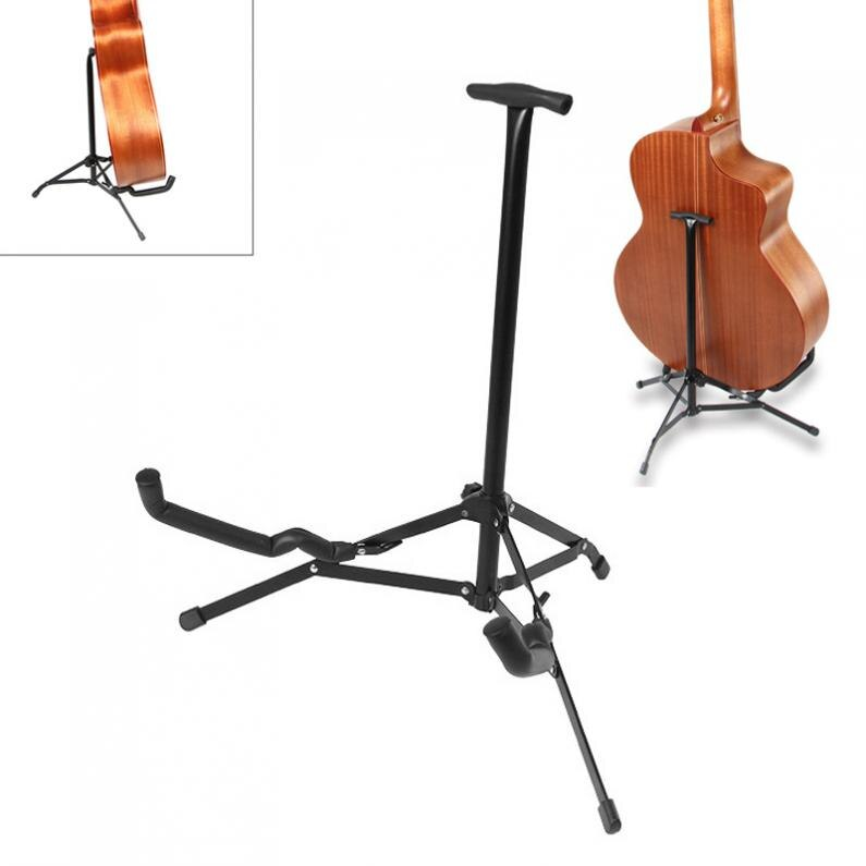 Ukelele de guitarra plegable de Metal negro, soporte de suelo con trípode estable