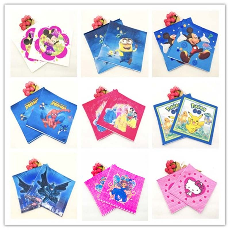 20pc Guardanapo Batman Mickey Minnie mouse Seis Princesa Pikachu Spiderman Minions Sorrir Sofia Fontes Do Partido Guardanapo de Papel