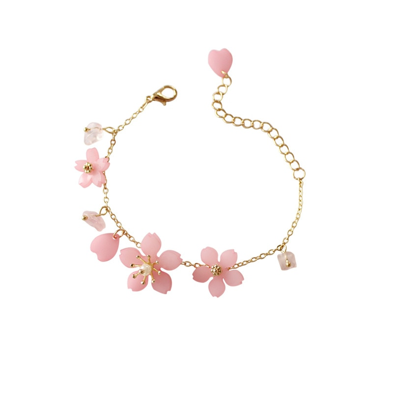 La nueva flor pulsera con flor de cerezo rosa perla verde pequeña pura y fresca y dulce pulsera