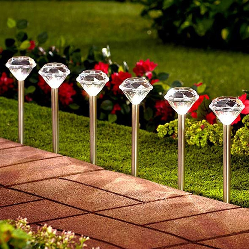 4/8Pcs Diamond Shaped Solar LED Lawn Light Color Changing Outdoor Yard Garden LED Light Ground Lights Lamp White/Warm/RGB Lights