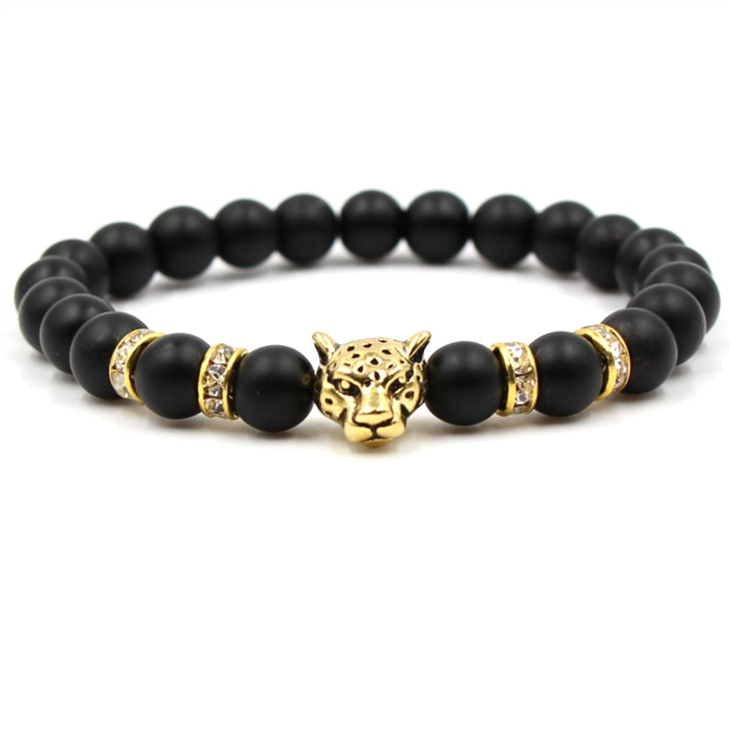 2019 fashion handmade natural stone matte black beaded bracelet charm mens leopard head bracelet personality mens jewelry