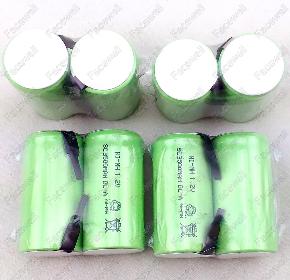 10 pcs bateria 3500 mah sub c 1.2 v bateria recarregável ni-mh 12 v 3500 mah subc sc 1.2 v nimh para ferramentas eléctricas brinquedos taxa de descarga 10c
