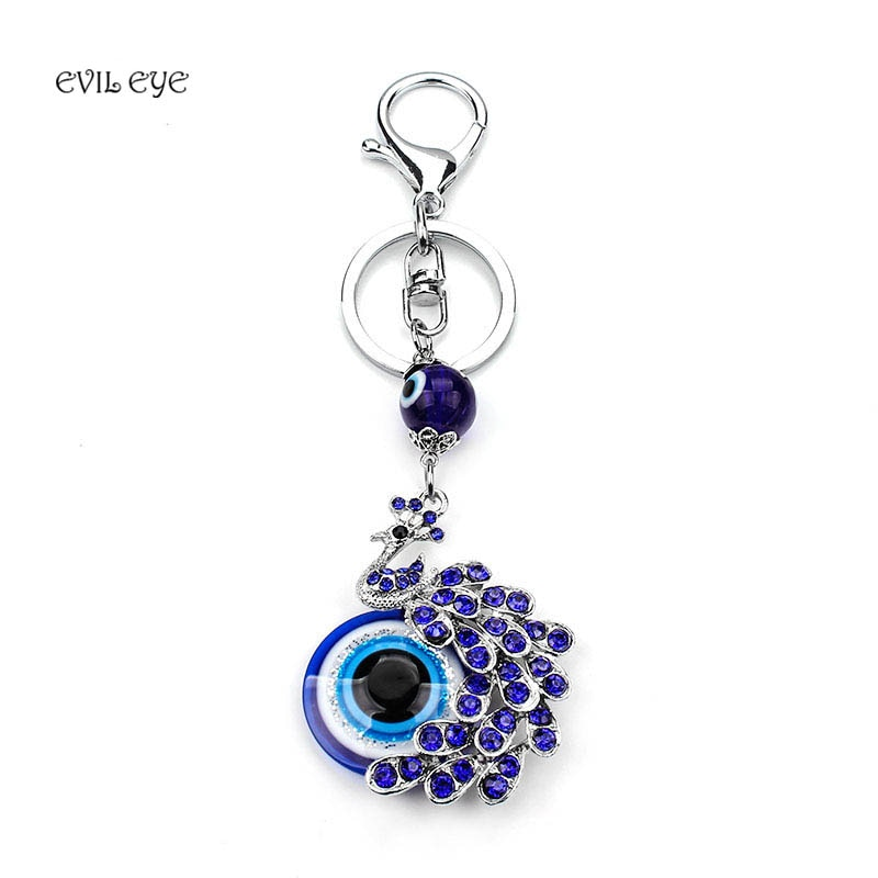 2017 Moda Sorte Presente de Cristal Azul Pavão Chaveiro Melhores Desejos Mal Olho jóias Pendente
