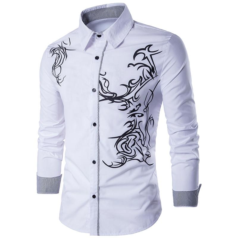 Men Shirt 2020 Spring New Men's Fashion Dragon Print Slim Fit Casual Social Business Long-sleeved Shirt Brand Camisa Masculina