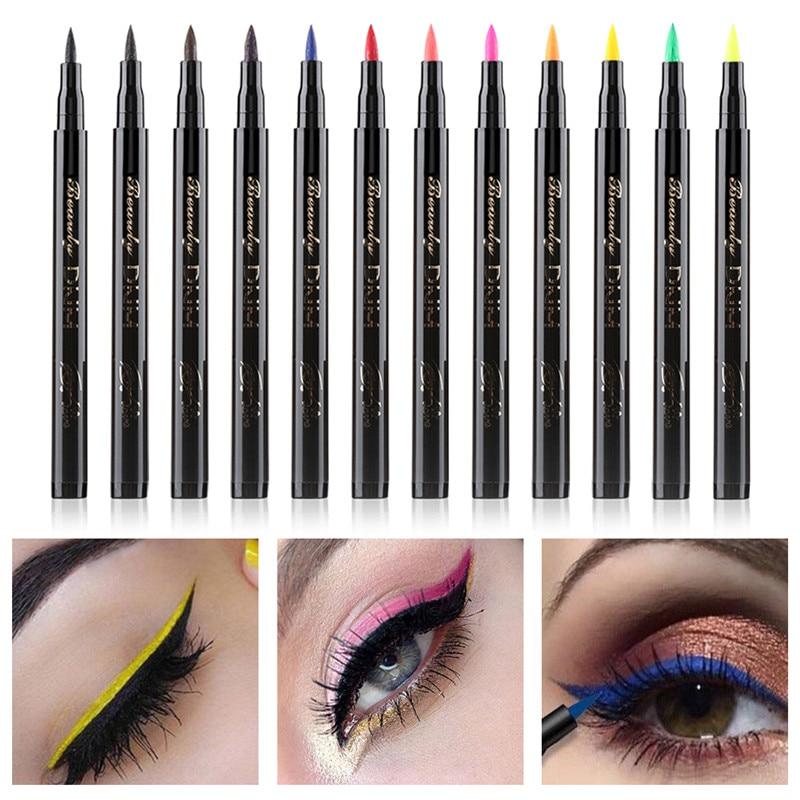 Cat Eye Makeup Waterproof Neon Colorful Liquid Eyeliner Pen Make Up Comestics Long-lasting Black Eye Liner Pencil Makeup Tools