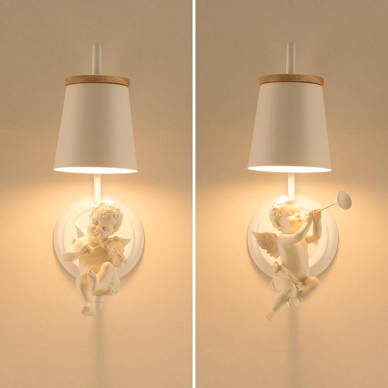 Iluminación nórdica, lámparas de dormitorio, modernos y creativos apliques de pared de Ángel, habitación de matrimonio infantil, luces Led de pared para oficina, lámpara de noche