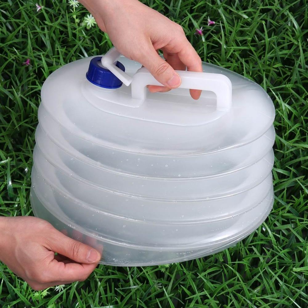 Contenedor plegable de agua 10L/15L plegable con grifo de espiga para exteriores PE plástico no tóxico senderismo emergencia Premium