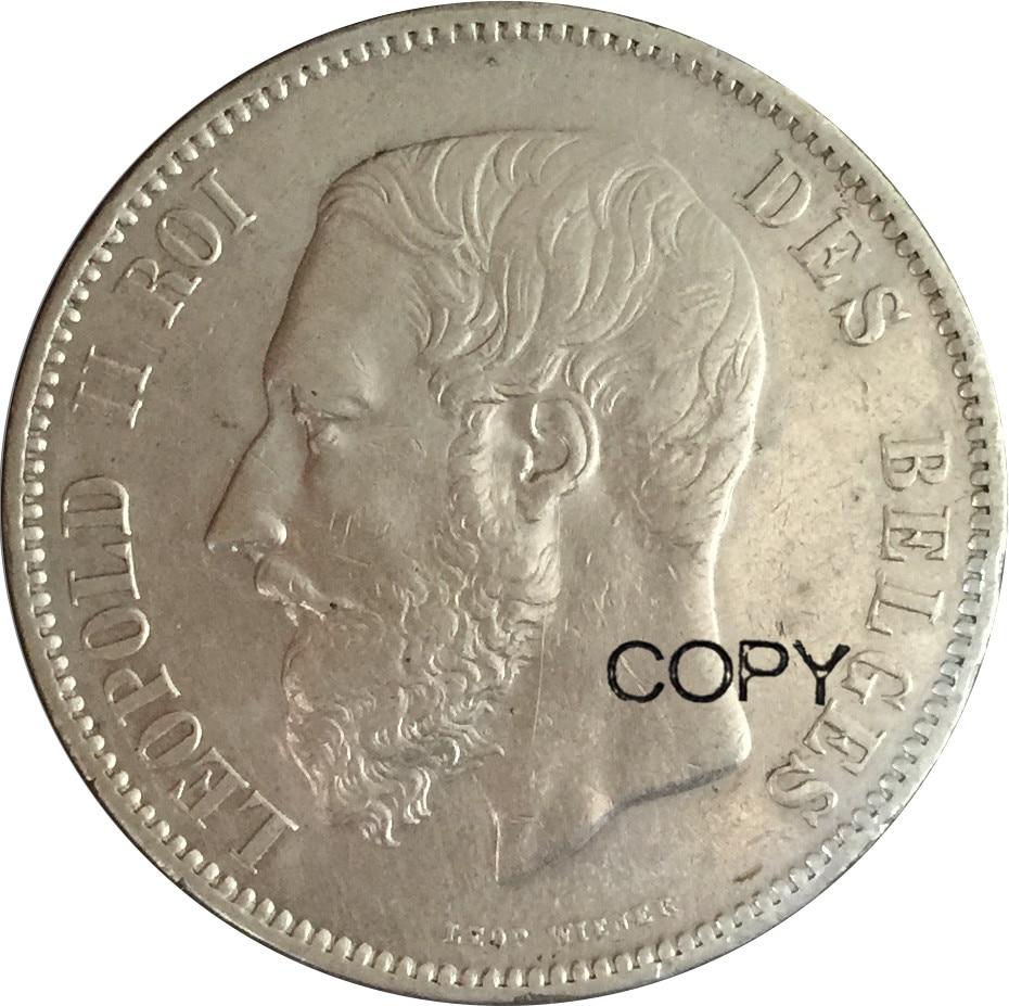 1873 Бельгия 5 франков Leopold II старые серебряные копии монет