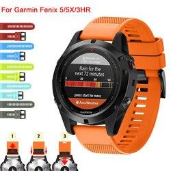 26 22 20MM Pulseira Cinta para Garmin Fenix 5X5 5S Plus 3 3HR D2 S60 Relógio Rápida easyfit lançamento Silicone Wrist Band Strap
