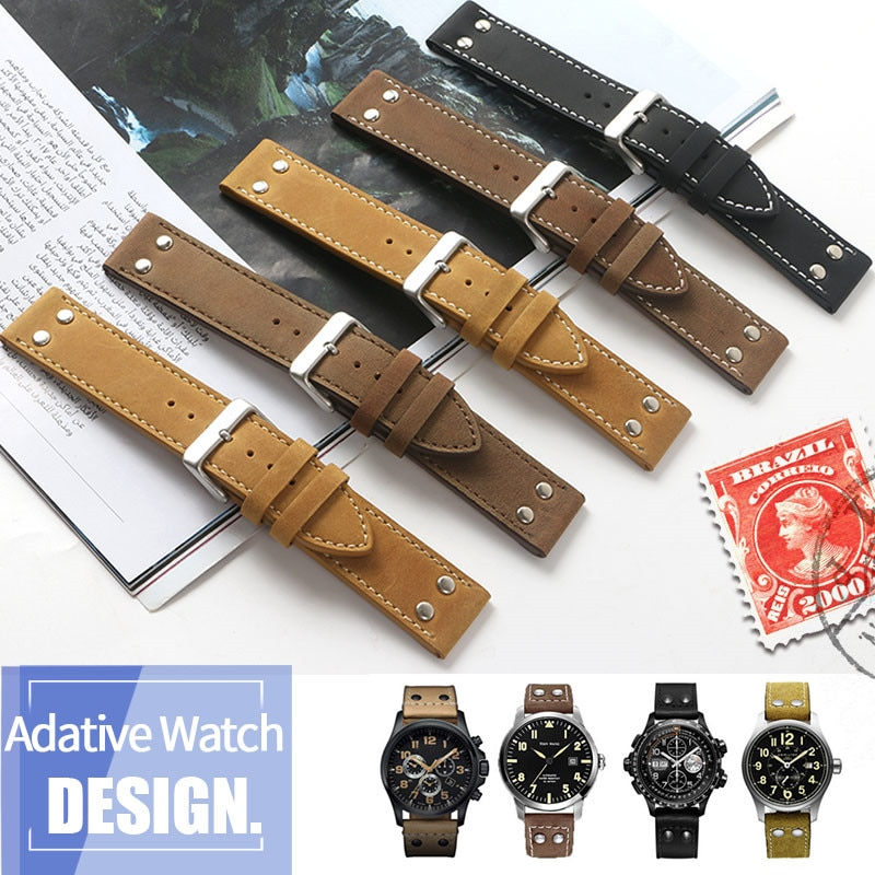 20mm 22mm Double Screw Universal Calfskin Leather Genuine Watch Band For Hamilton Field Aviation Wri