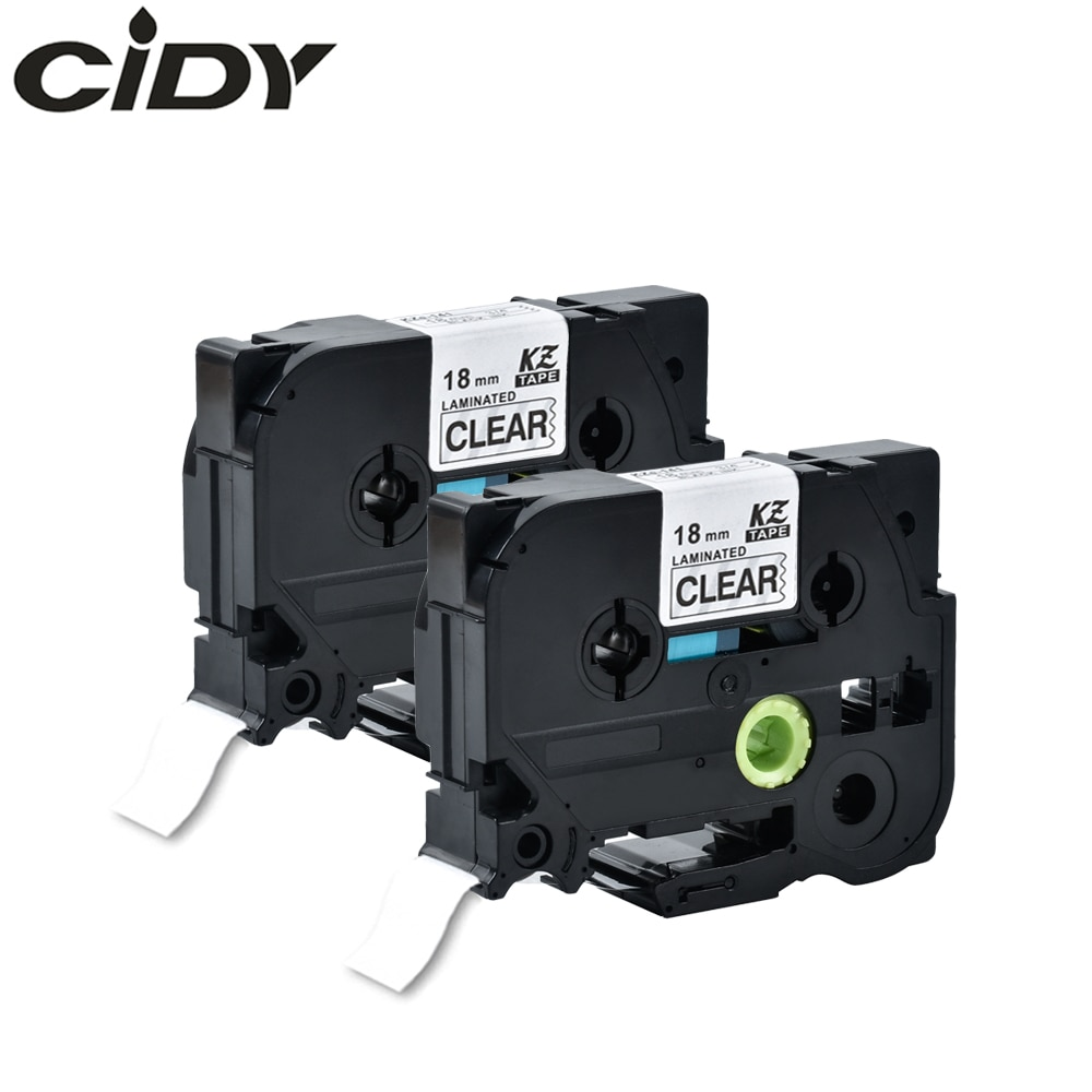 Cidy 2pcs Tz141 Tze 141 Tz-141 tze141 Black on Clear Compatible Brother PTouch Tze Laminated Label Tape Cartridge Printer Ribbon