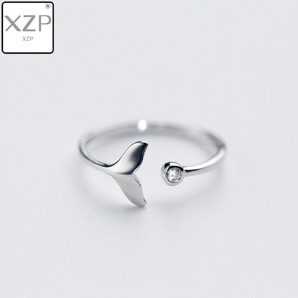 XZP exquisito Fishtail hermosa joyería de moda ajustable Zircon anillos cristal boda aleación abierta pescado Hada sirena plata