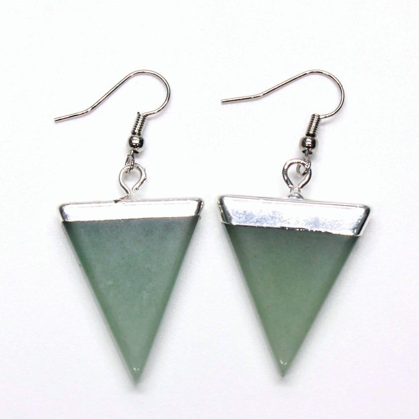 Pendientes modernos de Aventurina verde Natural chapados en plata estilo Simple con cuentas geométricas regalo de aniversario para mujer