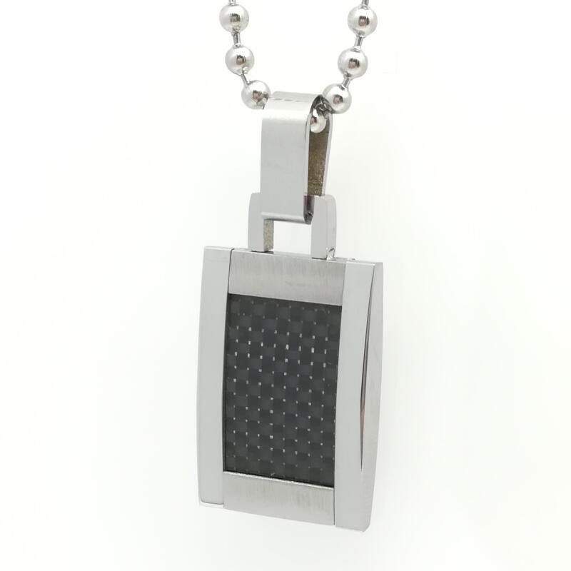 Black Carbon Fiber Geometric Necklace Men Jewelry High Polished Tungsten Carbide Necklaces & Pendants Chain
