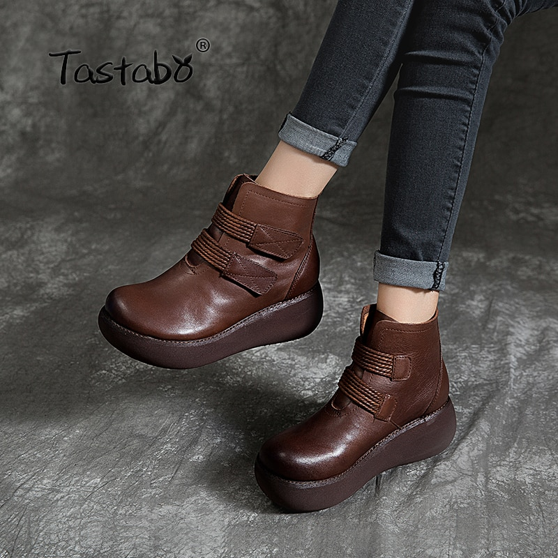 تاستابو الأحذية الحرفية اليدوية أسود براون زائد المخملية الأحذية العارية الكعك أسفل الأحذية النسائية بطانة مريحة الرجعية عارضة