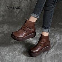 Tastabo arte hecho a mano botas marrón negro de terciopelo bulbo/foco botas Muffin bottom botas de mujer cómodo forro casuales Retro