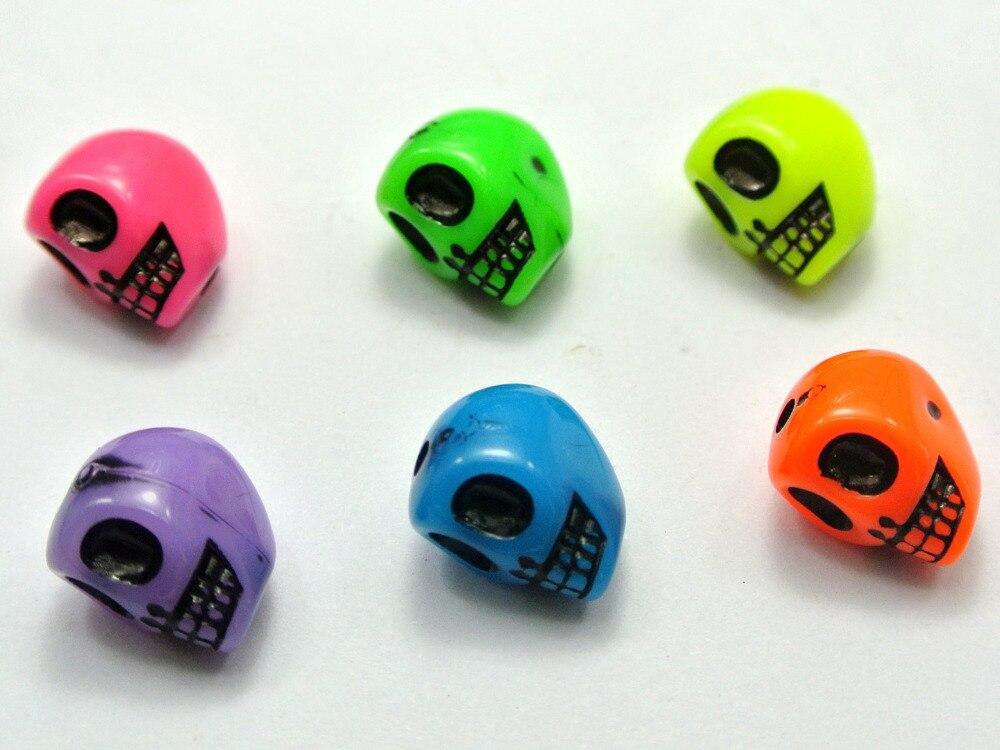 100 Mixed Color Acrylic Halloween Gothic Skull Beads 13mm Imitation Jade