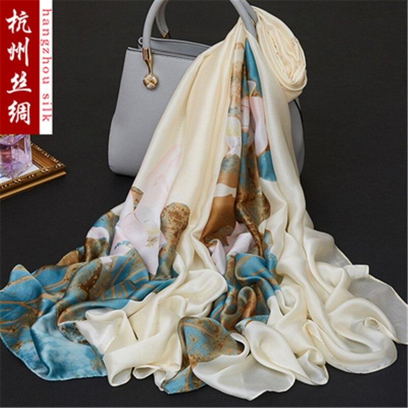 180x90cm pájaro flor impresa seda gasa tela seda natural Material coser mujeres vestido bufanda HG13